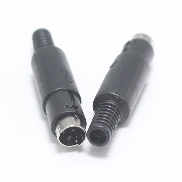 EClyxun 1Pcs Mini 3 4 5 6 7 8 Pin Din Male Plug With Plastic Handle Adapter Soldering Cables DIY Connector