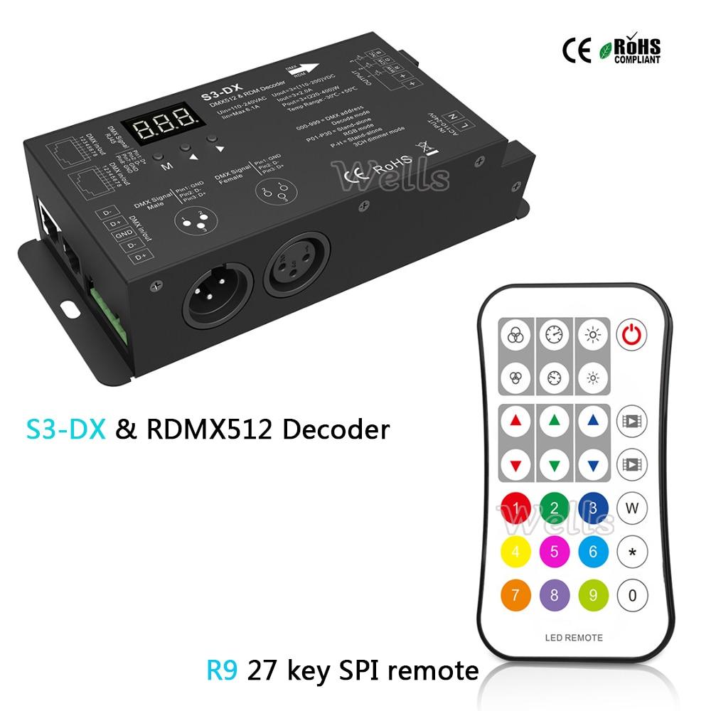 High Voltage Led DMX512 Decoder AC110-240V RGB DMX 512 Decoder 3CH*2A led controller&R9 27 key SPI remote led dmx512 decoder voor led lamp rgb groothandel dmx 3ch rgb controller high power constante stroom 700ma
