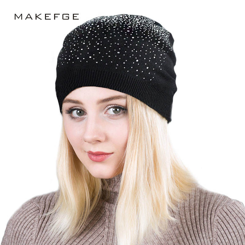 1cf6bba0d5 US $6.98 49% OFF|Female Winter Beanie Hats Rabbit Wool Knitted Cap Women  Flashing Rhinestone Bonnet For Girl Skullies Hat Touca Feminina Inverno-in  ...