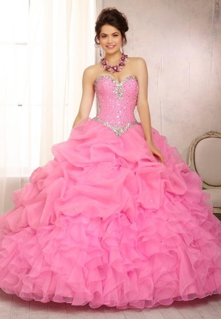 66a1c2d9886 Beaded Bodice Sweetheart Ruffles Organza Pink Ball Gown Quinceanera Dresses  2016 Hot Pink Cheap Quinceanera Gowns