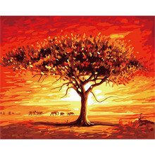 Red Evening Glow DIY Framed Oil Painting By Numbers Flowers Landscape Canvas For Living Room Wall Art Home Decor