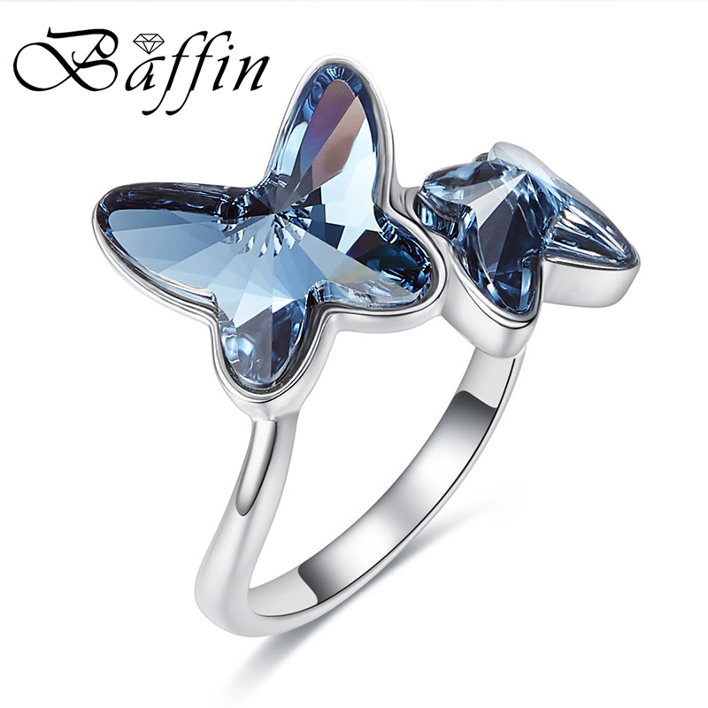 2018 BAFFIN Crystals From SWAROVSKI Blue Butterfly Maxi Ring Cute Fashion S925 Silver Finger Jewelry Anniversary Joyas For Women
