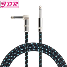 JDR Guitar Cable Bass Keyboard Instrument Professional 6.3mm Straight to Right Angle Male to Male Mono Braided Jacket Cord 5M kmise guitar cable instrument cord straight right angle 33ft ofc braided low noise for electric guitar
