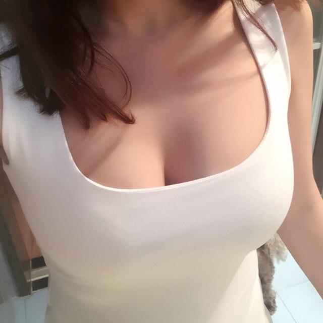 Sexy Low-Cut Tank Tops Women Large U-neck Bottoming Cotton Basic Tanks Sexy Nightclubs Clothing Plus Size Tanks Black White Gray 1