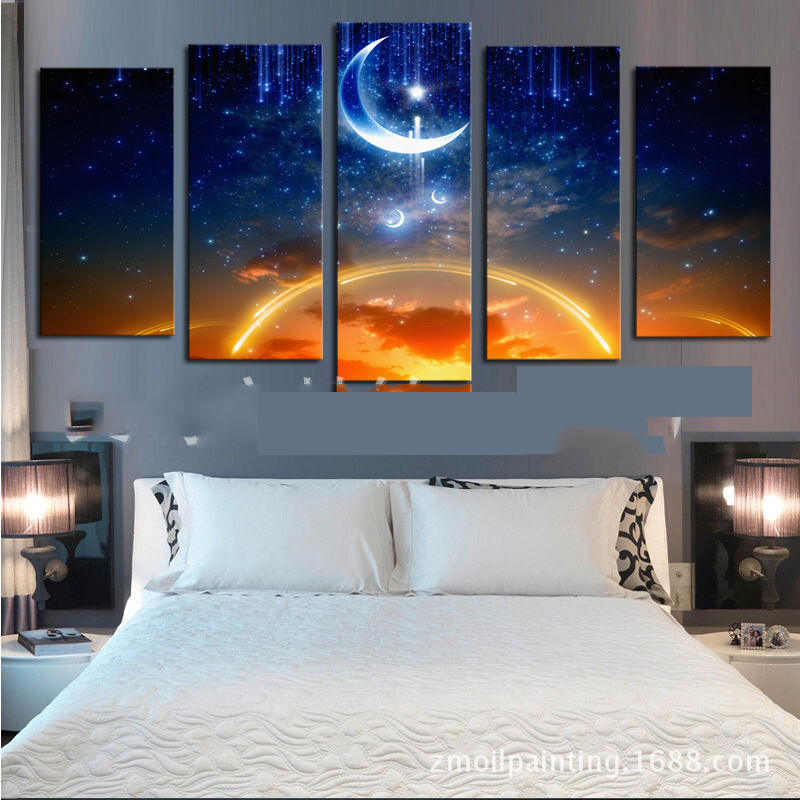 Picture Wall Art Canvas 5 Panels Moon And Sun Paintings Space Wall Decora For Landscape Painting Decor Artwork Giclee No Frame Wall Art Canvas Art Canvascanvas 5 Aliexpress