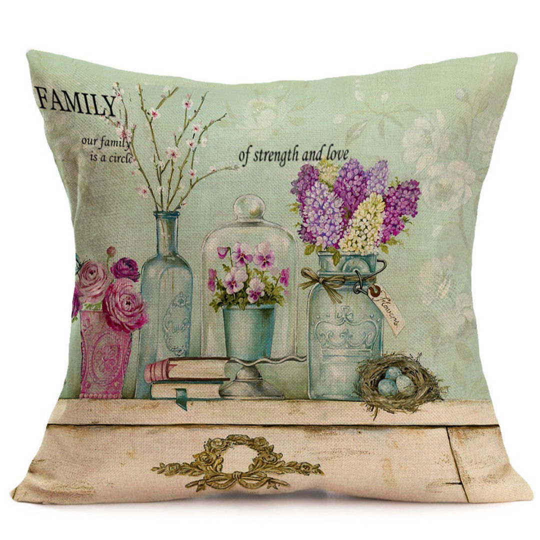 Vintage Flower Cushion Cover Rose Flower Pillow Case Colorful Pillow Covers for Sofa Bed Home Decorations Pillowcase