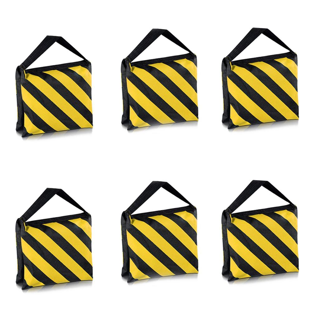 6 Pack Dual Handle Sandbag Black Yellow Saddlebag for Photography Studio Video Stage Film Light Stands