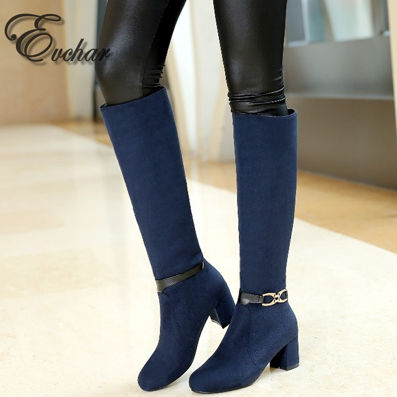 ФОТО Fashion Buckle Knee High Thick High Heels martin Boots Pointed toe Shoes Woman Autumn Winter Boots Cool Winter Shoes  size 33-43