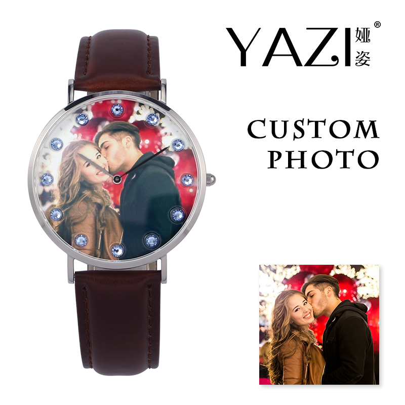 YAZI Unique Custom Lovers Watch Picture Print In Dial Men Watch Birthstone Smooth Surface Genuine Leather Women Watch For Gift