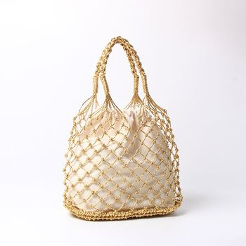 Gold silver black 3 color bright paper ropes hollow woven bag cotton lining straw bag female Reticulate handbag netted beach bag