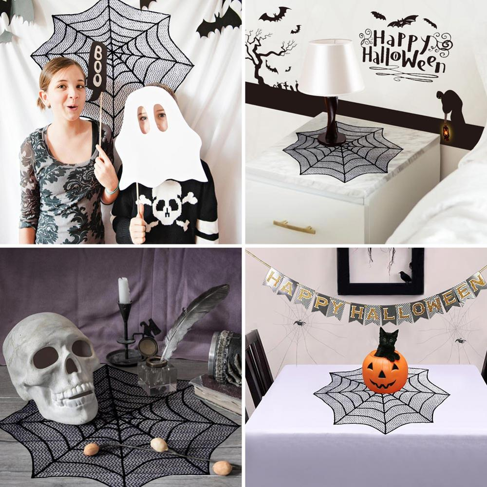 OurWarm 10pcs Black Lace Spiderweb Halloween Tablecloth Mantle Scarf Cover Halloween Decor Horror House Festive Party Supplies in Party DIY Decorations from Home Garden