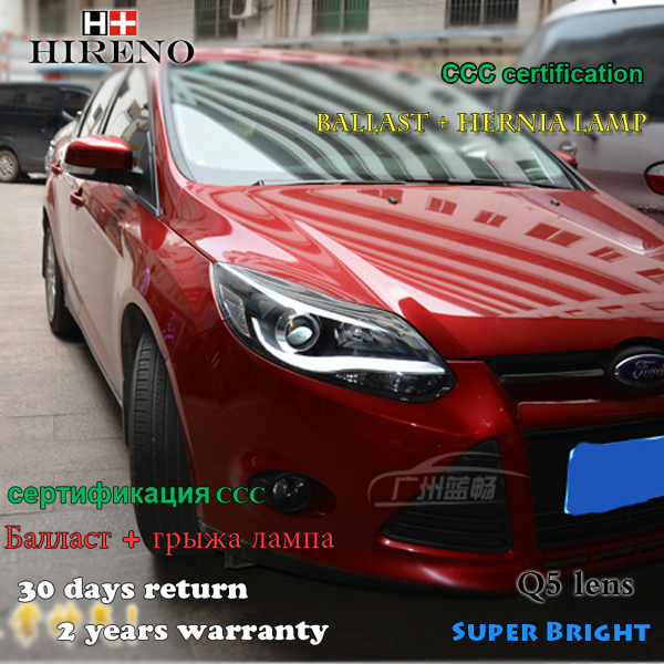 Hireno Car styling Headlamp for 2012-2014 Ford Focus Headlight Assembly LED DRL Angel Lens Double Beam HID Xenon 2pcs