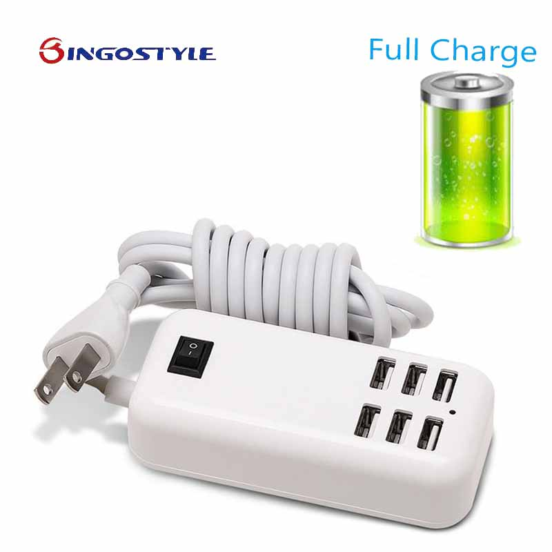 Desktop USB Charger HUB 6 Ports US EU UK <font><b>Plug</b></font> Wall Socket Dock Fast Charging Extension Power Adapter for <font><b>Cell</b></font> <font><b>Phone</b></font> Tablet