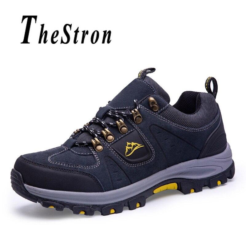 Mens baskets d'extérieur à lacets Hommes chaussures de sport Suède De Vache En Cuir semelle en caoutchouc Escalade Chaussures Pour Hommes Anti-Slip chaussures de randonnée