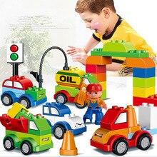 52 шт., креативные машинки, различные строительные блоки, совместим с Duplo, детские игрушки, рождественский подарок