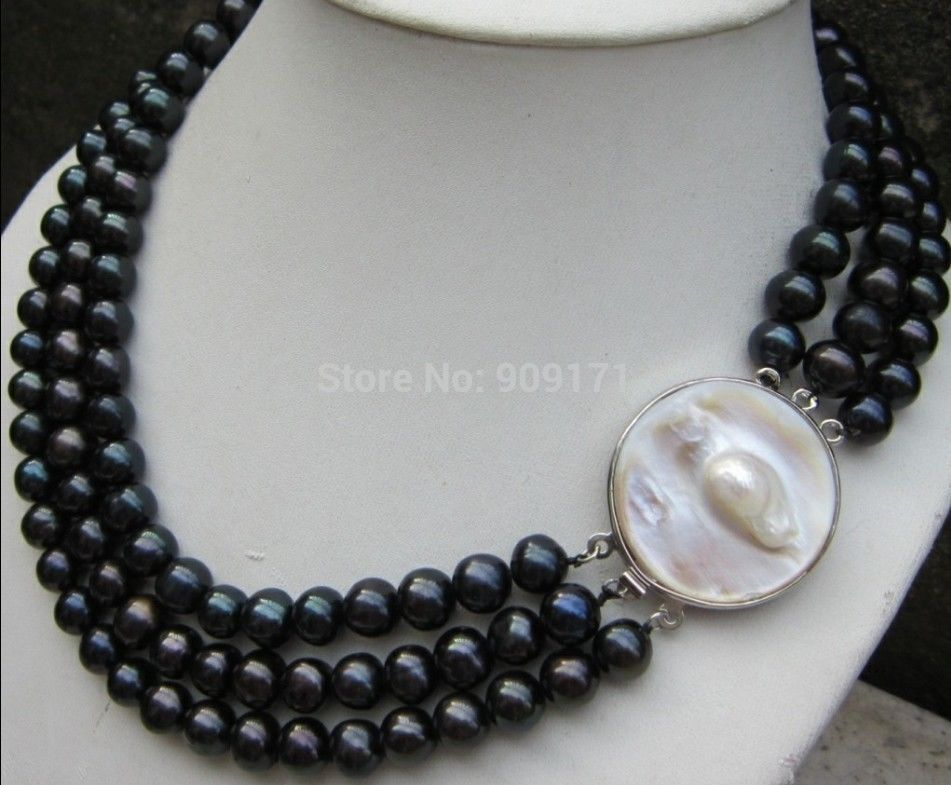 FREE SHIPPING>>>@@ > &>>WHOLESALE 3 ROW 9-10MM AAA TAHITIAN BLACK PEARL NECKLACE 18 INCH цена и фото