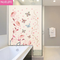 60x100cm Butterfly flower pattern electrostatic frosted opaque glass film living room bedroom bathroom Windows doors glass film