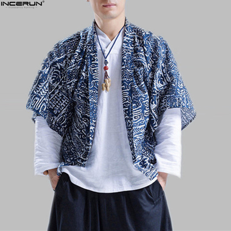 INCERUN Cotton Linen Shirts Men Kimono Traditional Open Stitch Shirt Fashion Printing Male Half Sleeve Shirt Harajuku Blue Red