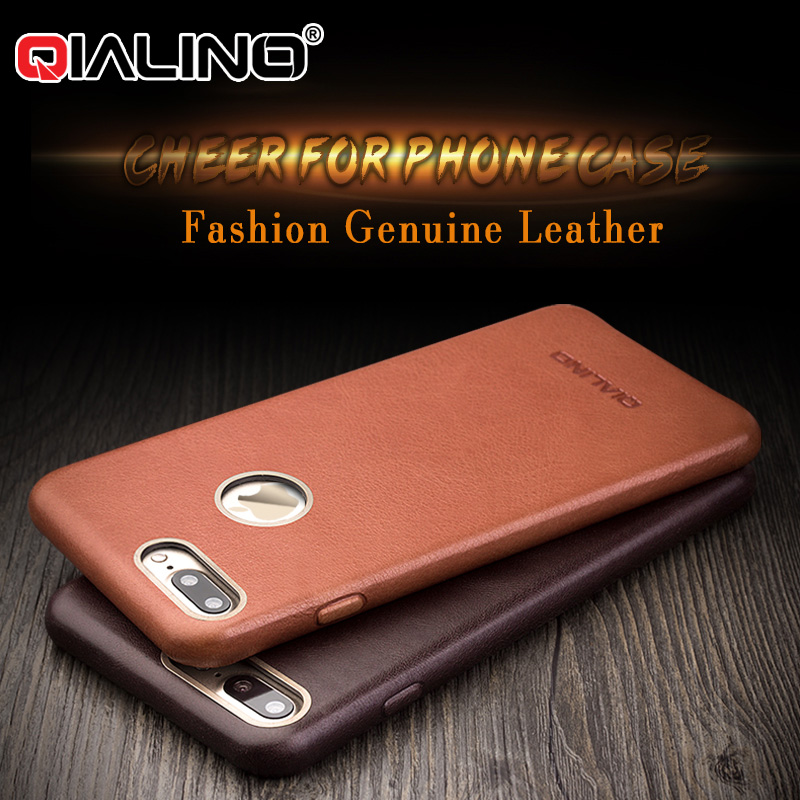 a1be5b2e2ec QIALINO Luxury Calf Skin Genuine Leather Phone Case For Iphone 7 6 Plus  Ultra Thin Slim Fashion Cases For Iphone 6s 7 Plus Cover-in Half-wrapped  Case from ...