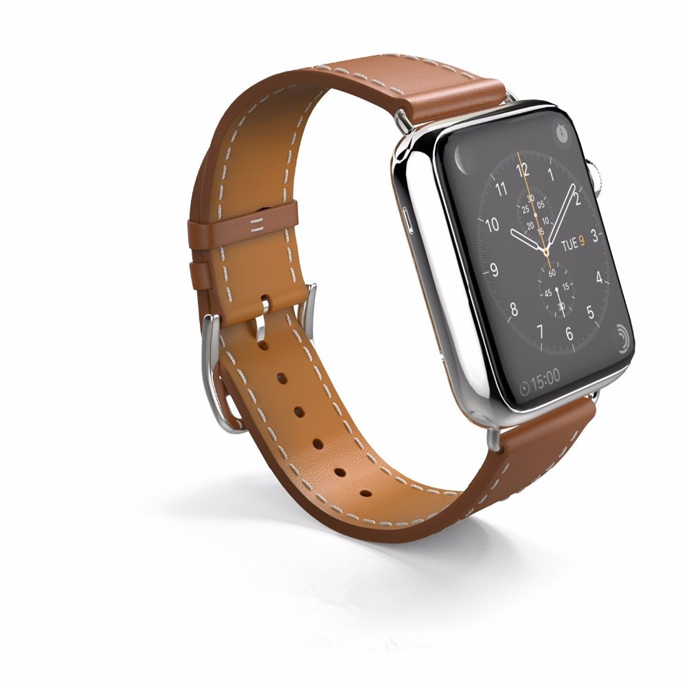 CRESTED leather band for hermes apple watch 3 42mm 38mm single tour strap wristband bracelet Leather watchband iwatch 1 2 3 band crested leather cuff bracelets watch band for apple watch hermes bracelet 38mm 42mm