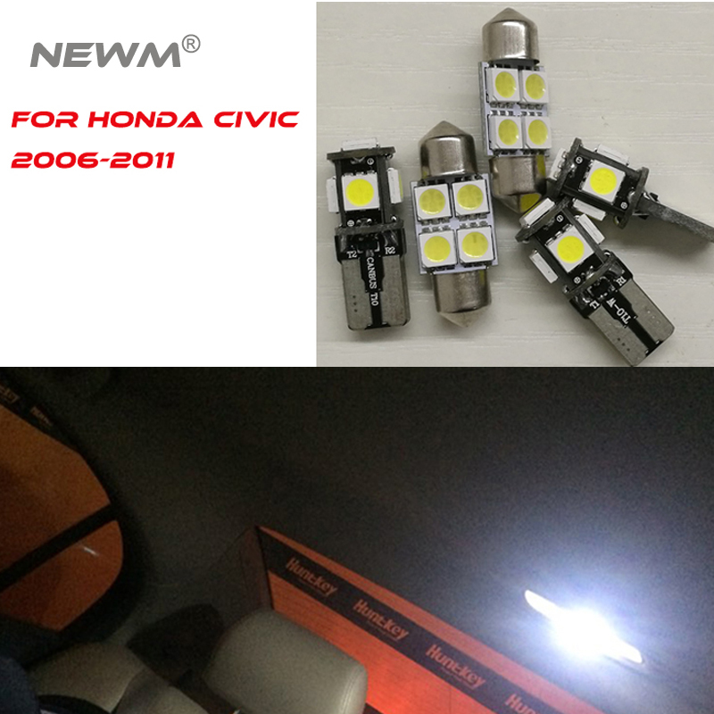 6 stück Automotive Innen Dome Karte Trunk Licht Für <font><b>Honda</b></font> <font><b>Civic</b></font> 2006 2007 2008 <font><b>2009</b></font> 2010 2011 image