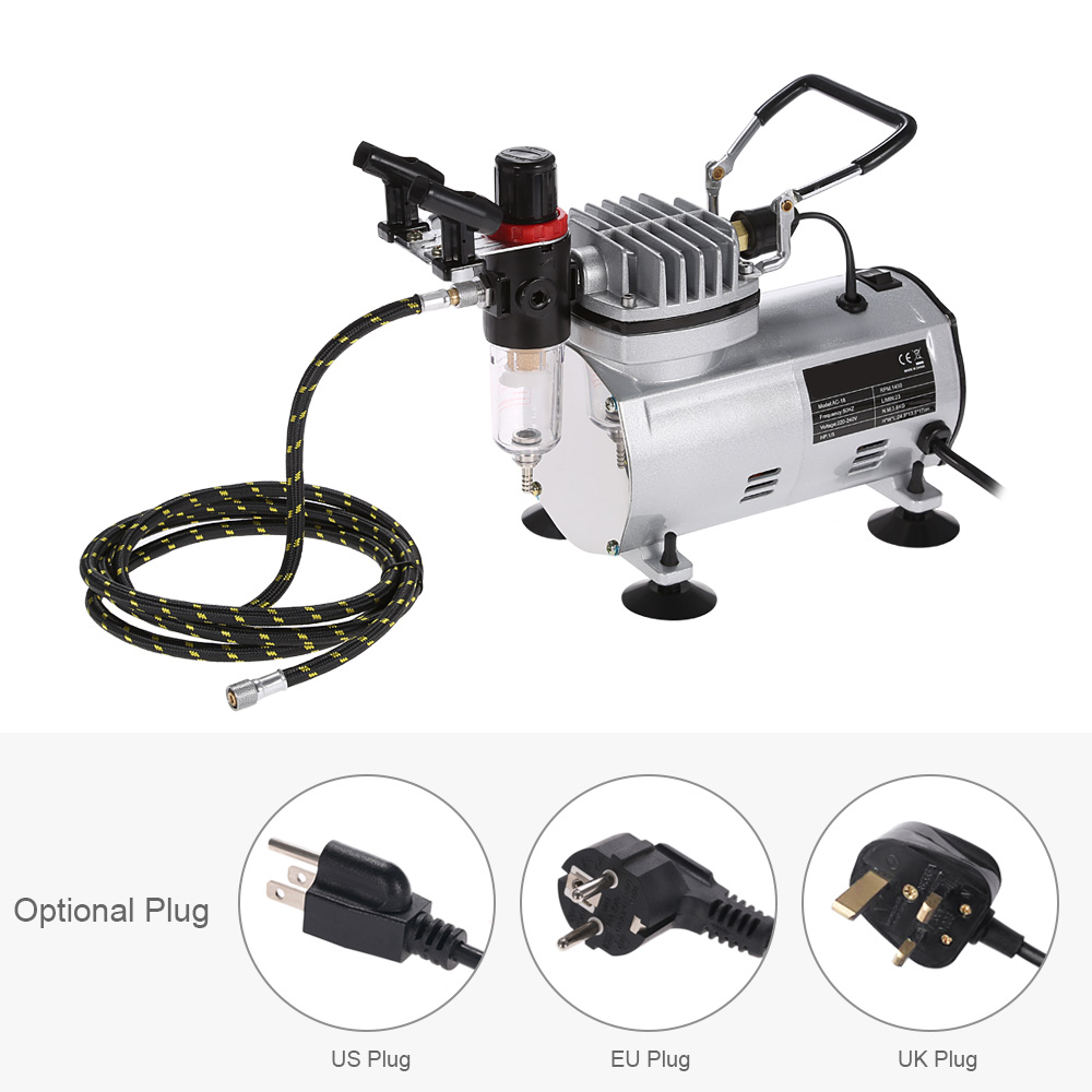Nasedal Nt 11 Air Compressor Airbrush Set Tattoo Nail Supply Hobby Compressors Wiring Schematic For 2 1 High Efficiency Mounted Holder Airbrushes 6ft Braided Hose Instructions