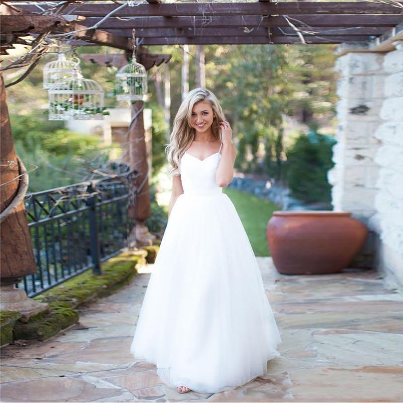 2016 Simple White Tulle Long Boho Beach Wedding Dresses