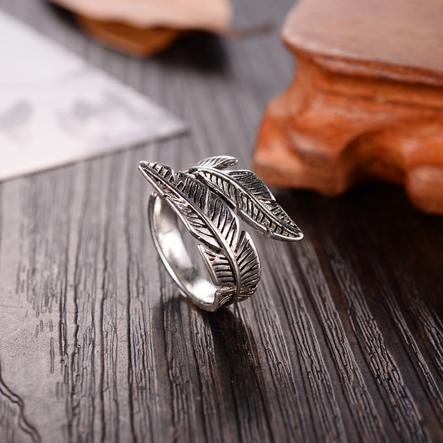 2019 Bijoux Fashion Real Silver Color Feather Rings for Women Boho Adjustable Antique Rings Anillos 4