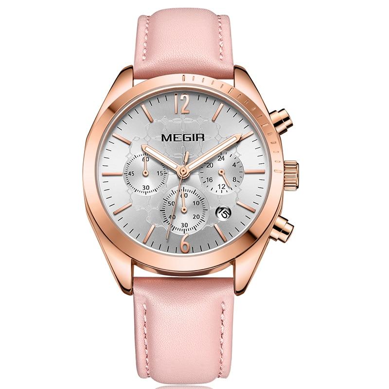 MEGIR 2018 Luxury Brand lady Watch Women Dress Watch Fashion Rose Gold Quartz Watches Female Wristwatches