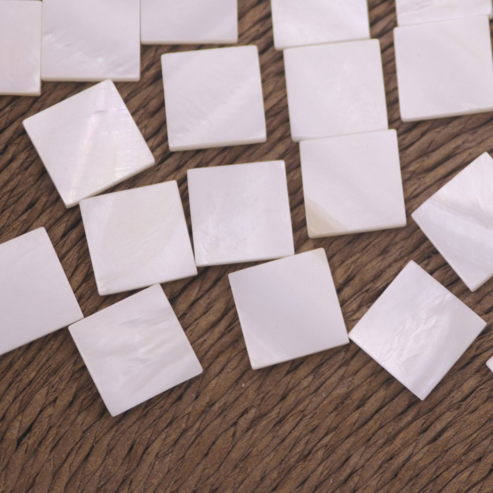 Купить с кэшбэком 50 PCS 10mm Flat Square Shape Shell Natural White Mother of Pearl Charms Pendant