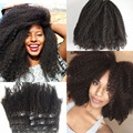 African American Clip in Human Hair extension 8A Malaysian Virgin Hair Clip in extension afro Kinky Curly Clip in Hair extension