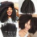 Afroamericano Clip en la extensión del pelo humano de malasia 8A virgen del pelo Clip en la extensión afro rizado rizado Clip en la extensión del pelo
