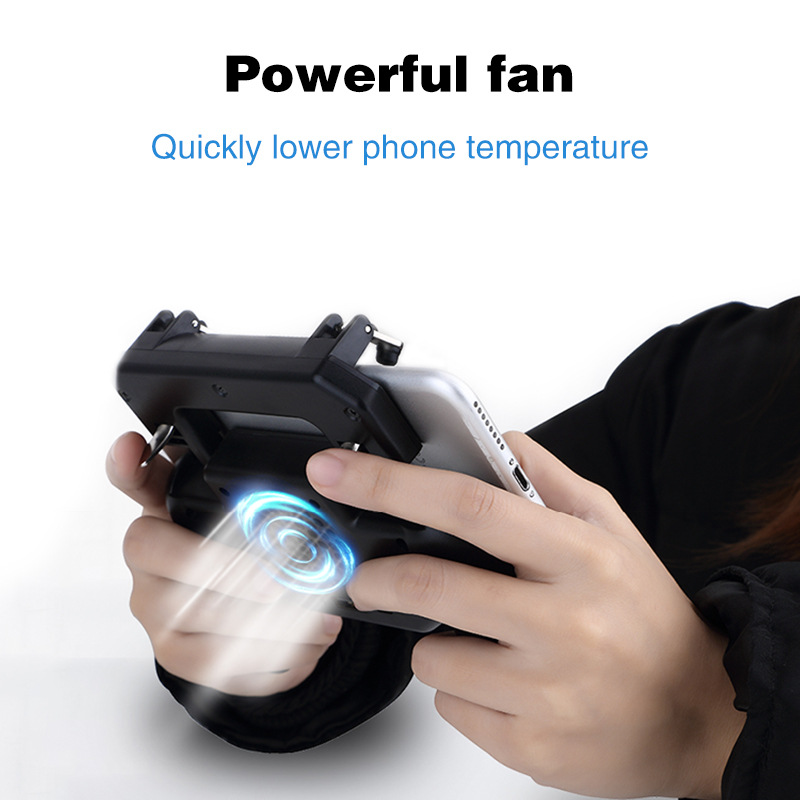 Image 2 - L1R1 Game Shooter Mobile Phone Gamepad Game Joystick Controller Ultra Portable Grip Holder With mute heat dissipation fan-in Gamepads from Consumer Electronics