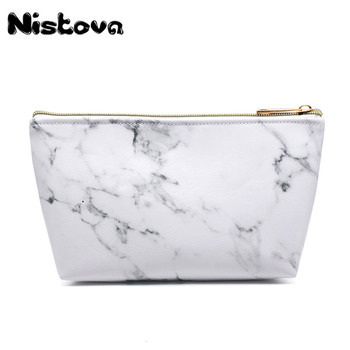 Marble Travel Road Organizer Cosmetic Bag with Gold Zipper Portable Lady Travel PU Makeup Brushes Bag Travel Accessories Supply chileelove tassels marble pattern pu leather cosmetic bag makeup brushes kit bag handbag fashion zipper bag high capacity
