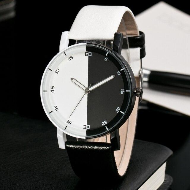 Nieuwe Collectie Zwart wit Unisex Casual Horloges Mannen Merk Mode Alle Match Quartz Horloge Vrouwen Trend Horloge Relogio Klok in Nieuwe Collectie