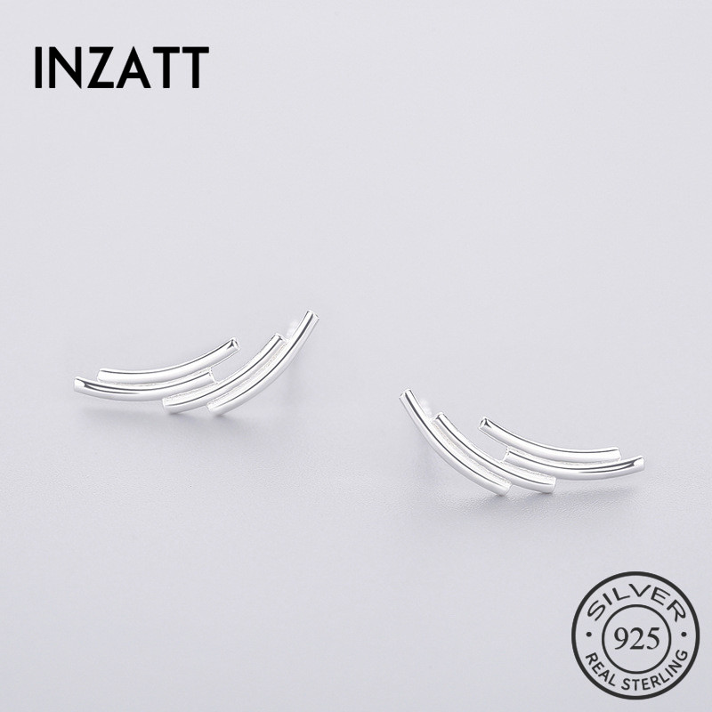INZATT Minimalist 100% 925 Sterling Silver Stud Earrings 2018 Punk Geometric Line For Women Birthday Party Fine Jewelry Gift