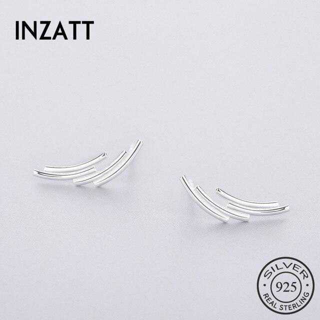 INZATT Minimalist 100% 925 Sterling Silver Stud Earrings 2018 Punk Geometric Lin