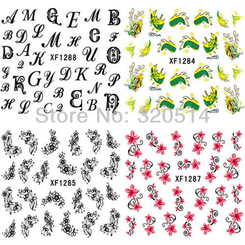 New items hundreds design 6pcs lot water decals full cover nail art sticker decoration letter