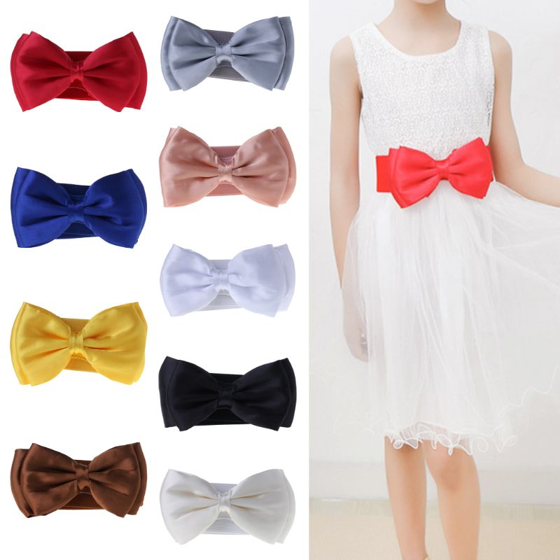 Kids Waist Belt Wide Elastic Bowknot Girls Children 50cm Band Fashion Decoration Buckle Corset Dresses Ornament