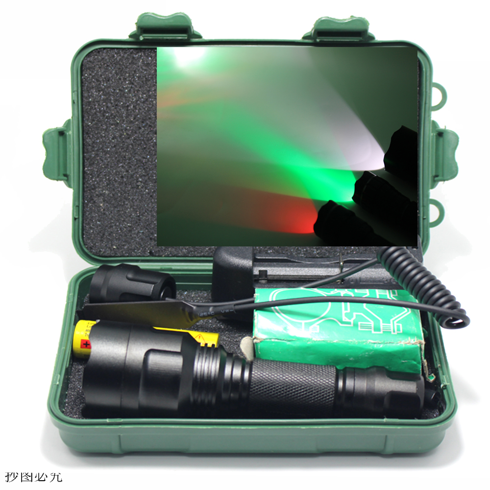 Tactical Flashlight White/Green/Red Q5 T6 led torch+battery+Charger+Pressure Switch Mount Hunting Rifle Gun Light Lamp+box led tactical flashlight 501b cree xm l2 t6 torch hunting rifle light led night light lighting 18650 battery charger box