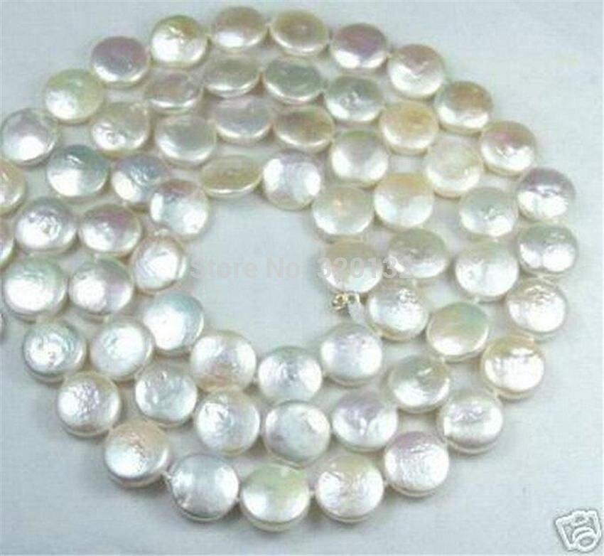 Naturel 12 MM Blanc Coin Perle Bijoux Collier 32