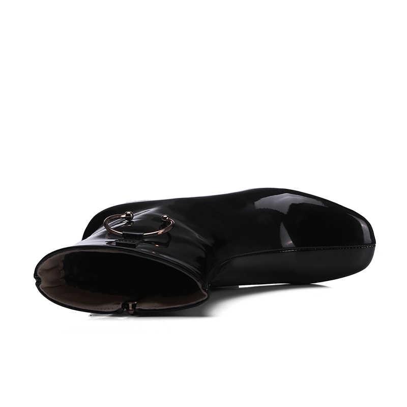 WETKISS Patent Pu Kadın yarım çizmeler Kare Ayak Ayakkabı Kalın Topuklu Kadın Çizme Zip Ayakkabı Kadın Kış 2018 Artı Boyutu 33 -44
