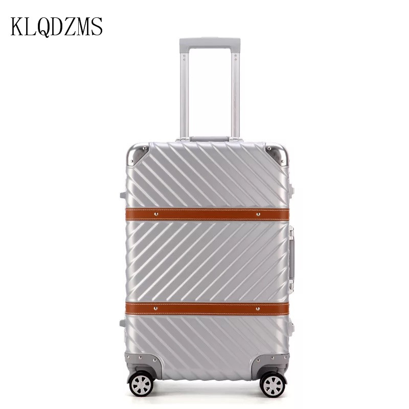 KLQDZMS 20/22/24/26/29 Inch Vintage  Luggage Suitcase PC Aluminum Frame Travel Trolley  Rolling Luggage Suitcase With Wheels