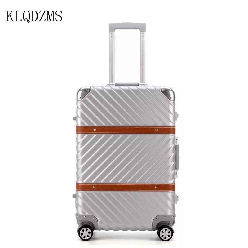 KLQDZMS 20/22/24/26/29 pouces valise à bagages Vintage PC cadre en aluminium chariot de voyage bagages à roulettes valise à roulettes