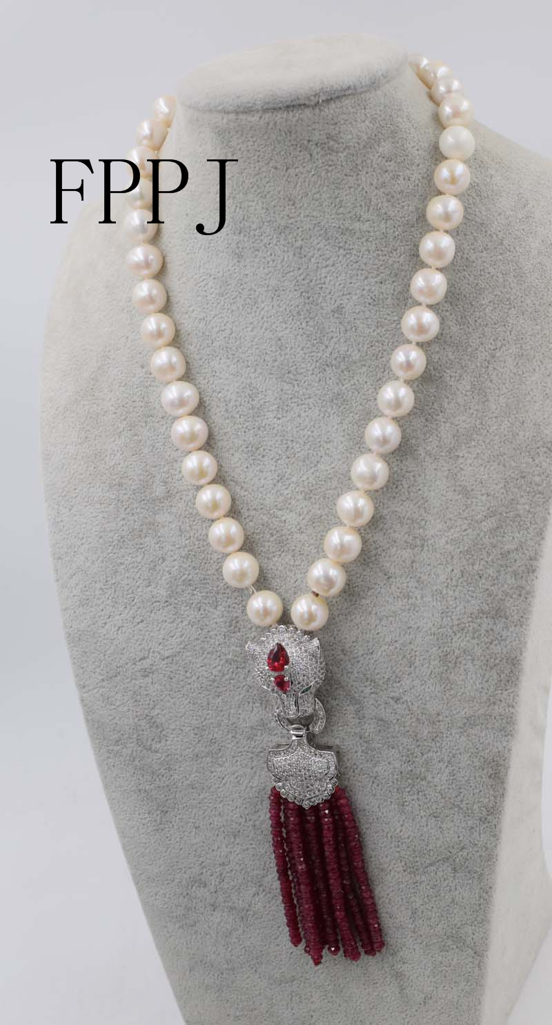 freshwater pearl white near round 10-11mm pink red jade roundel faceted ecklace 18inch FPPJ wholesale beads nature freshwater pearl white near round and red jade leopard clasp necklace 18inch fppj wholesale beads nature