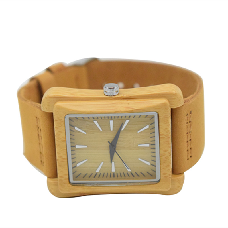 Luxury Royal Brown Wood Watch Top Quartz Wristwatch 100 Natural Bamboo Clock Casual Leather Valentin 39 s Day Gifts for Men Women in Quartz Watches from Watches