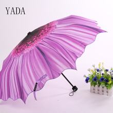 YADA Yellow & Purple Sunflower Umbrella Rain Women High Quality Brand Car For Womens Windproof Folding Umbrellas YS011