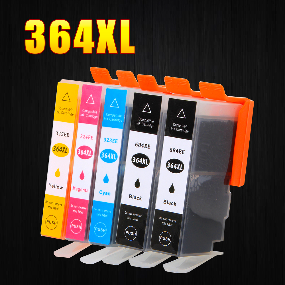 5Pack 364XL Ink Cartridge Replacement for HP 364 xl cartridges for Deskjet 3070A 5510 6510 B209a C510a C309a Printer applicable for hp ink cartridge for hp 21 22 cartridges deskjet f300 f310 for hp 21xl 22xl factory direct