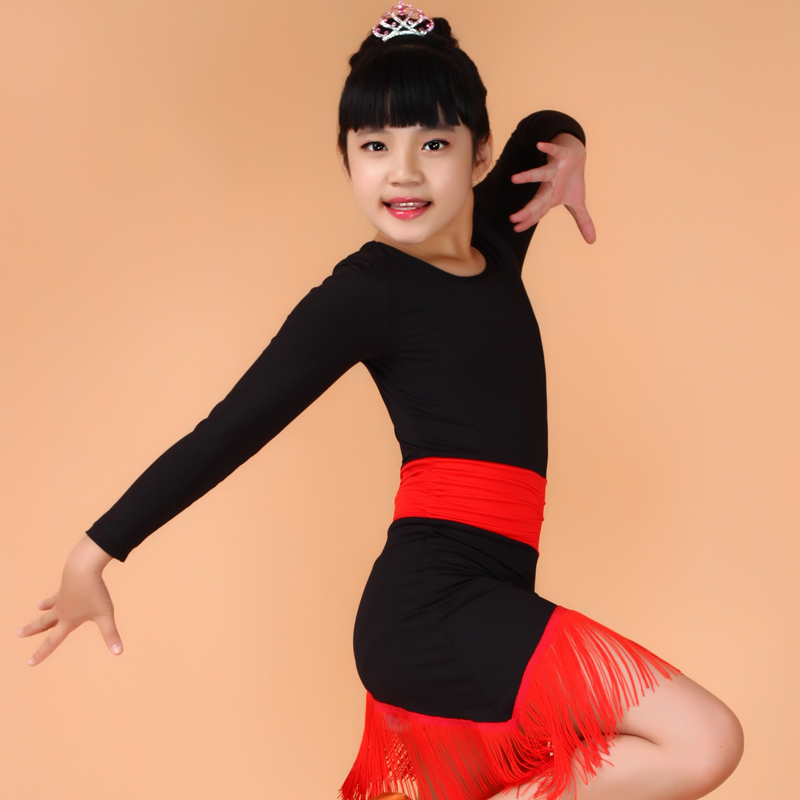 Girl Kids Long Sleeves Latin Dress Samba Dance Costumes Tango Dance Dress Children Tassel Fringe Stage Show Latin Rumba Costume