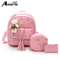 Amarte Brand 2018 New Women PU Leather Backpacks Preppy Style Girls Big Capacity School Backpacks Fashion